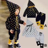 2014 New Autumn Children Star Print Clothing Set Baby Boy Hooded Suits 2pcs/set AB43