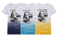 2014 summer new men's fashion explosion models network White House printed short-sleeved round neck short sleeve men's t