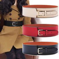 New 2014 Fashion Retro Female Metal waist brand cummerbund Buckle PU modeling girdles gold Wide hip belts for Women(F809Y362)