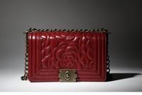 2014 exclusive new classic small fragrant chain rose Camellia leather handbag Crossbody Bag medium FREE SHIPPING