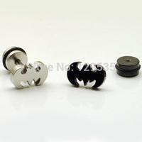 New Fashion Men's Batman Super Hero screw Stud Earring Bat Stainless Steel 2 colors free shipping