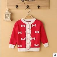 2014 new children girl fashion bow print ruffle casual knit sweater kids girls cotton cardigan wholesale sweaters christmas