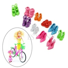 Free Shipping 10 Pairs Fashion Doll Shoes Heels Sandals For Barbie Dolls Outfit Dress(China (Mainland))
