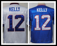 Free Shipping,Buffalo #12 Jim Kelly Throwback Jersey M&N american football Jerseys,Embroidery Logo,Accept Mix Order