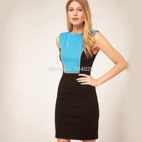Hot Women Contrast Colors Patchwork Sleeveless Casual Sheath Tank Dress Fashion Office Ladies Slim Work Dress Good Elasticity
