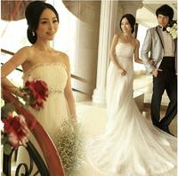 Fashion New Summer Strapless pregnant Tailing Floor-length High Waist beach Wedding dress 2014 vestido de noiva bridal gown W1