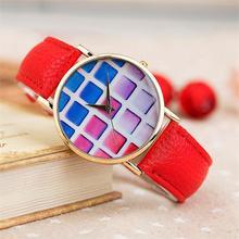 Free shipping Modern fashion grid pattern art quartz watch Trendy casual women dress watches Fashion jewelry