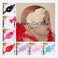 Trail Order 10PCS/LOT Baby Girls Flower Headbands Rhinestone Infant Toddler Baby Elastic Headbands Kids Hair Accessories