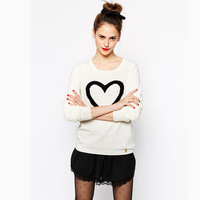 Free shipping!2014 autumn new arrived fashion casual Soft and thin yarn heart pattern jacquard sweater female 2 color 6 size