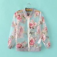 Free shipping!New arrival 2014 summer organza flower print anti-uv sun protection clothing female jacket short jacket