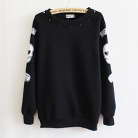 women hoodies sweatshirts skull rivets o-neck casual thickening fleece women sweatshirt