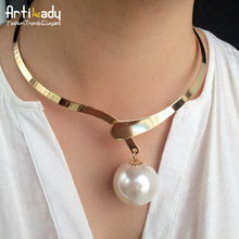Artilady Hot Sale Big Pearl Choker Necklace Romantic 18K Gold Women Collar Necklace Women Jewelry