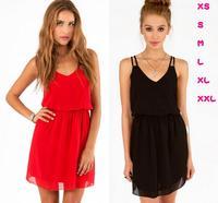 2014 New Women Summer Dress Black Red Double-strap Chiffon Dress Sexy V-neck Slim Waisted Vestidos Plus Size Maxi Dresses