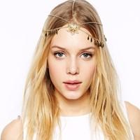 Crecian Garland Forehead Flower Pendant Rhombus Tassel Head Chain Crown Hair Cuff Wrap Headband Fashion Women Hair Accessories