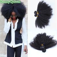 Mongolian afro kinky curly  virgin hair 4~6pcs/lot 5A SunnyQueen hair products afro kinky curly natural black mongolian hair