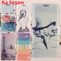 Free ship! New Design Cartoon Pattern Wallet Leather Case for Samsung Galaxy S5 I9600 Cover With Card Slots, 13 colors