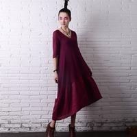 Vestidoes 2015 Spring Women Dress Original Design Half Sleeve Knitted Linen Dress Women Loose Casual Autumn Dress