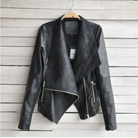 HZ001 New 2014 women clothing lady fashioin pu leather full sleeve Slim pu leather motorcycle casual jacket coat plus size