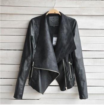 HZ001 2014 Женщины cloТонкийg lady fashioin pu leather Полный Рукав Slim pu leather ...