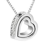 Double heart-shaped necklaces pendants Women Korean Fashion Pendant free shipping