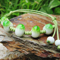 Fashion Rope Chain Ceramic Beads Bracelet Green White Very Beautiful #A00125