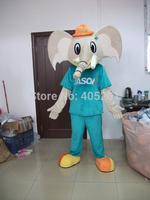 orange hat elephant mascot costume blue sport suit animal costumes