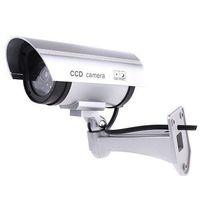 New Silver IR Waterproof Dummy Camera CCTV Surveillance With Flashing LED