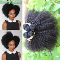 SunnyQueen hair products afro kinky curly natural black hair Brazilian afro kinky curly 4~6PCS Brazilian tight curl 5A Grade
