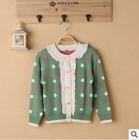 new 2014 autumn fall winter children girl cute dot ruffle knitted cardigan sweater kids girls casual cashmere ruffle outerwear