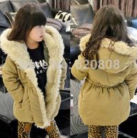 Brand children's clothing Korean girls waist long section of plush cotton children coat girls coat
