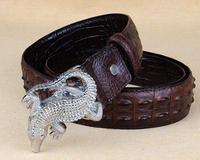 2014 New retro arrival  Men Belts antique Genuine Leather  crocodile buckle top alligator design free shipping Blt0019