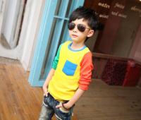 2014 New Retail Korean Style Neat Kids Clothes Boys Long Sleeve t Shirt Fashion  Summer Autumn Boys Clothes