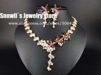 2014 new Luxury fashion colorful five leaves flower zircon Wedding Necklace Earrings set,bride,dinner dressing jewelry set