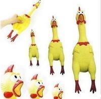 New 17CM Yellow Screaming Rubber Chicken Pet Dog Toy Squeak Squeaker Chew Gift