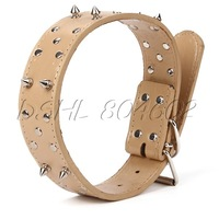 Thick Large PU Leather Big Dog Wide Collar Spike Studded Pet Puppy L Size
