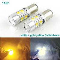 Excellent 2 pcs Dual Color Switchback 1157/BAY15D Original 5630 SMD 20 LEDs car LED front Turn Signal light Bulb,White + Amber