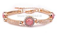 Bmaoer Luxury 18K Rose Gold Plated Bracelet with Red Opal AAA Zircon Crystal Jewelry