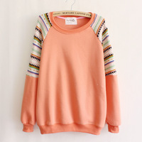 2014 Women's Hoodies Women's Sweatshirts patchwork stripe o-neck casual thickening fleece sweatshirt female