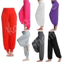 Sports High Waist Women Solid Harem Yoga Flare Pant BellySweatpant Elastic Waist Dance Club Boho Wide Loose Long Trousers Female