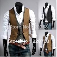 Free shipping men's leisure vest Modified dress waistcoat high quality fashion grid color khaki black size M - XXL