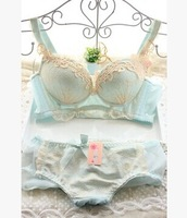2014 NEW ARRIVAL Thick sweet BRA PUSH UP strengthen Four Hook-and-eye lingerie lace embroidery underwear sets women BRA SETS