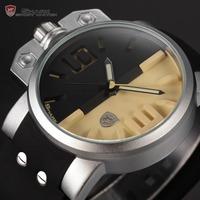 Shark Stainless Steel Case Black Yellow Dial 3D Logo Luminous Pointer Rubber Strap Outdoor Sport Wrist Men Quartz Watch / SH170