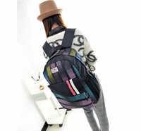 HOT! Colorful Stripe NylonBackpack Preppy Chic girls' School Bag Bag Travel Bag free shipping