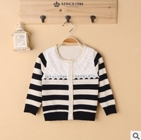2014 autumn winter children girl fashion black red striped knitted cashmere cardigan sweater outerwear kids casual lace sweaters