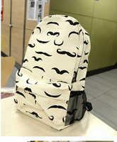 HOT! Cute Moustache Printing Backpack Preppy Chic girls' School Bag Travel Bag shoulder bag free shipping