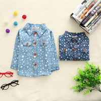 2014 Autumn Baby Unisex Feshion Long Sleeves Stars Printed T-Shirt Korea Little Baby Turn-down Collar shirts