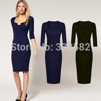 2014 Newest Women Elegant Summer Square Collar  Bodycon Knee-Length Temperament Charm Party Pencil Dresses