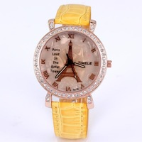 New hot fashion women quartz watches analog leather imitation diamond jewelry casual lady watch tower eiffel