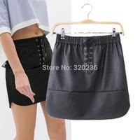 Free shipping  ! 2014 Hot sale Girls Elastic Waist Drawstring Decorate  Pu Leather Skirt  Womens Branded skirt