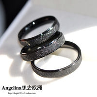 FREE SHIPPING~New Arrival Titanium Jewelry Black Matte Plated Shining Punk Style Unisex Ring